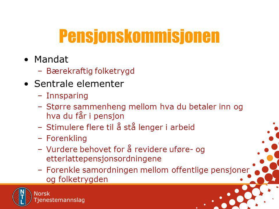 Tiltakene Levealdersjustering Indeksering Stimulere til å stå lenger i arbeid –Tidlig pensjon – lav pensjon Større sammenheng mellom hva du betaler inn og hva du får i pensjon –Alleårsregel erstatter besteårsregel.
