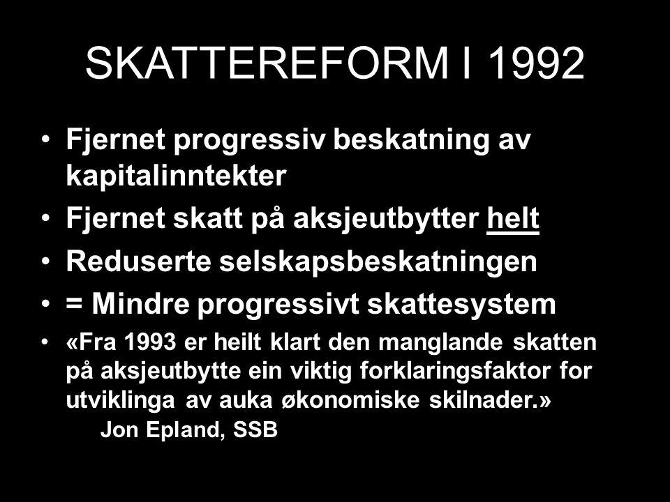 SKATTEREFORM I 1992 Fjernet progressiv beskatning av kapitalinntekter Fjernet skatt på aksjeutbytter helt Reduserte selskapsbeskatningen = Mindre prog