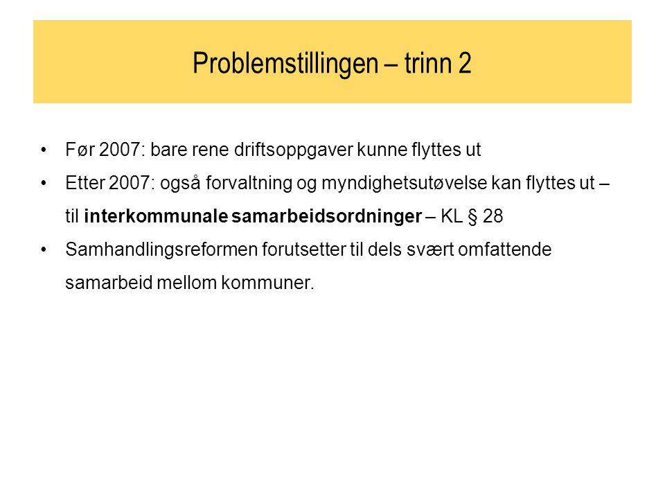 Problemstillingen – trinn 2 Før 2007: bare rene driftsoppgaver kunne flyttes ut Etter 2007: også forvaltning og myndighetsutøvelse kan flyttes ut – ti