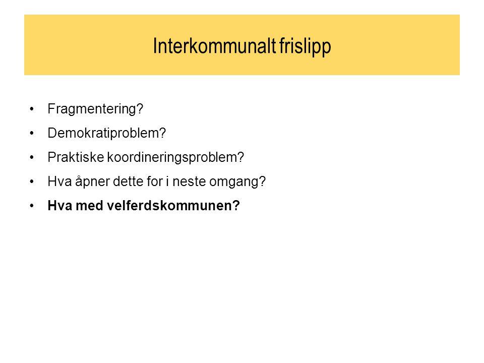 Interkommunalt frislipp Fragmentering. Demokratiproblem.