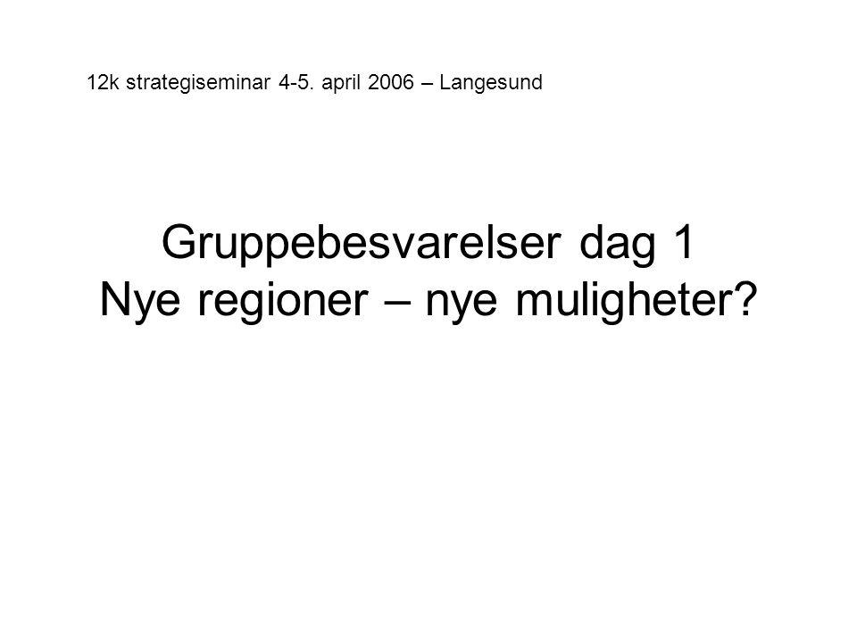 Gruppebesvarelser dag 1 Nye regioner – nye muligheter.