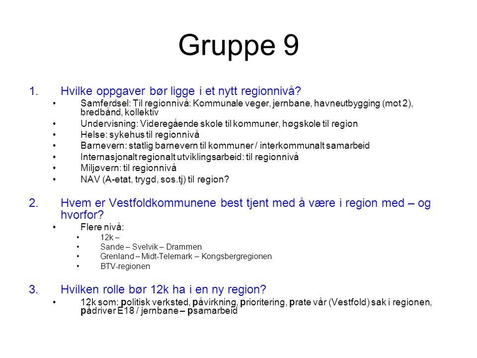 Gruppe 9 1.Hvilke oppgaver bør ligge i et nytt regionnivå.