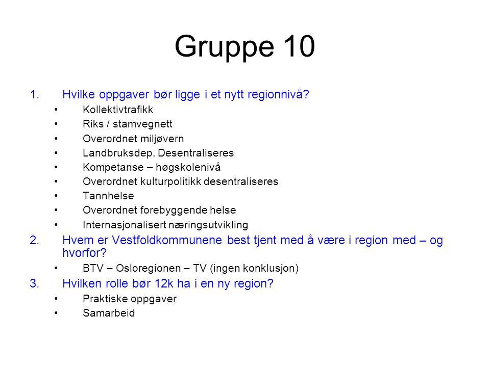 Gruppe 10 1.Hvilke oppgaver bør ligge i et nytt regionnivå.