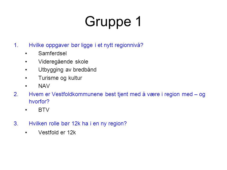 Gruppe 1 1.Hvilke oppgaver bør ligge i et nytt regionnivå.