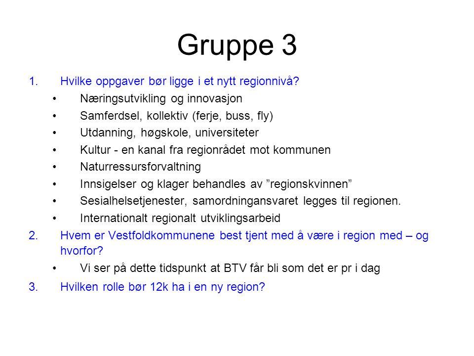 Gruppe 3 1.Hvilke oppgaver bør ligge i et nytt regionnivå.