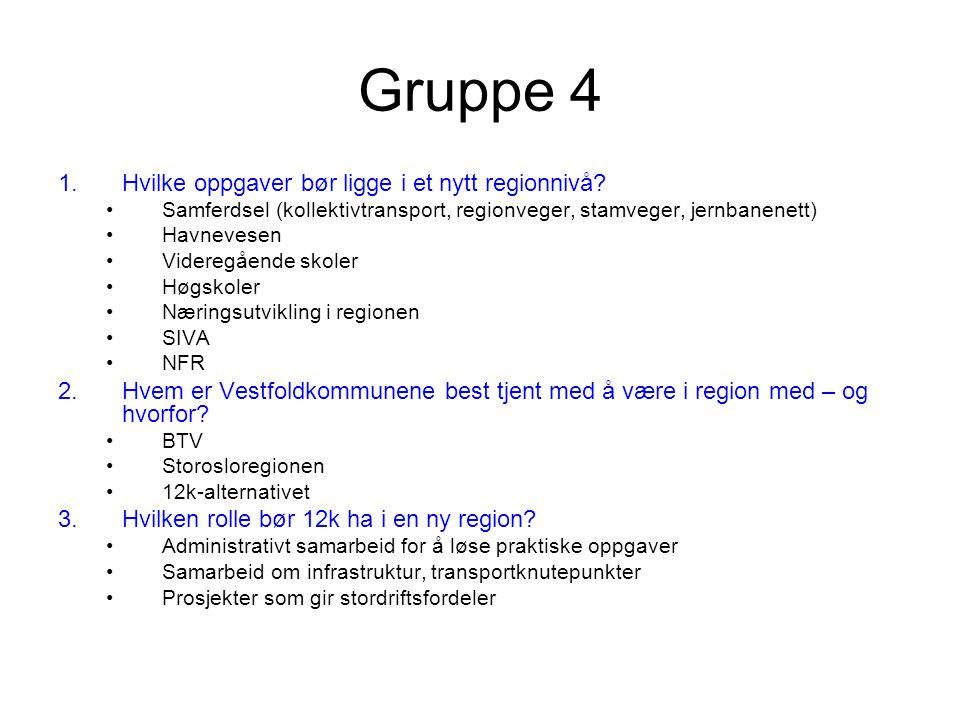Gruppe 4 1.Hvilke oppgaver bør ligge i et nytt regionnivå.