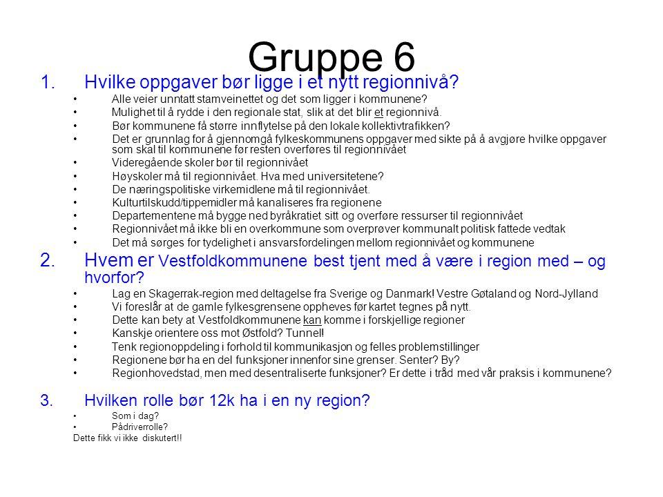Gruppe 6 1.Hvilke oppgaver bør ligge i et nytt regionnivå.