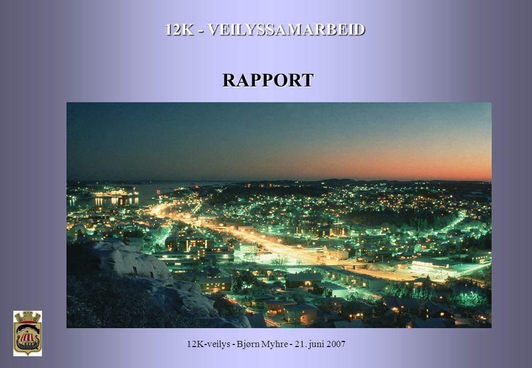 12K-veilys - Bjørn Myhre - 21. juni 2007 12K - VEILYSSAMARBEID RAPPORT
