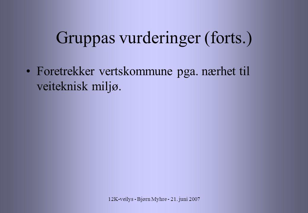 12K-veilys - Bjørn Myhre - 21.juni 2007 Gruppas vurderinger (forts.) Foretrekker vertskommune pga.