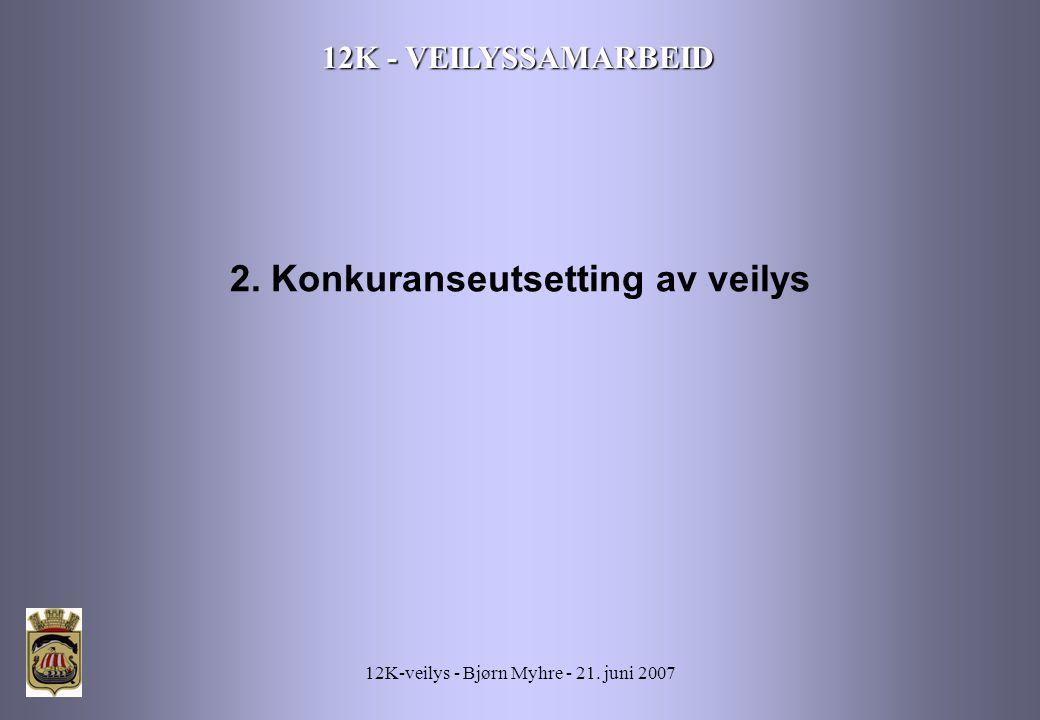 12K-veilys - Bjørn Myhre - 21. juni 2007 12K - VEILYSSAMARBEID 2. Konkuranseutsetting av veilys