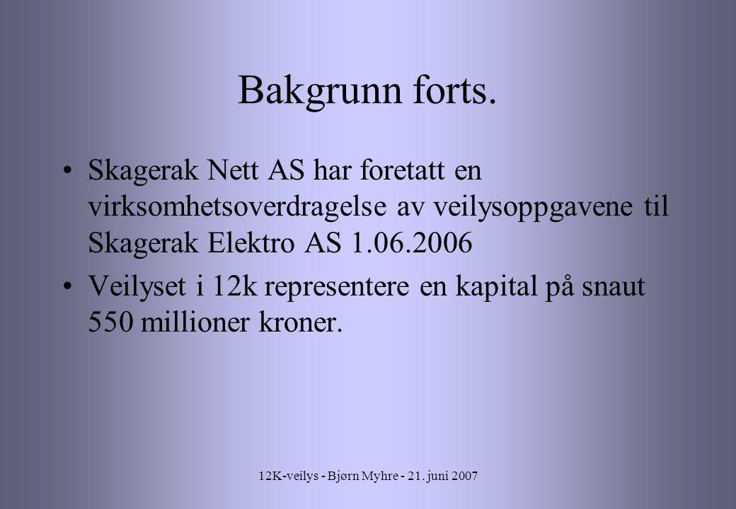 12K-veilys - Bjørn Myhre - 21.juni 2007 Bakgrunn forts.