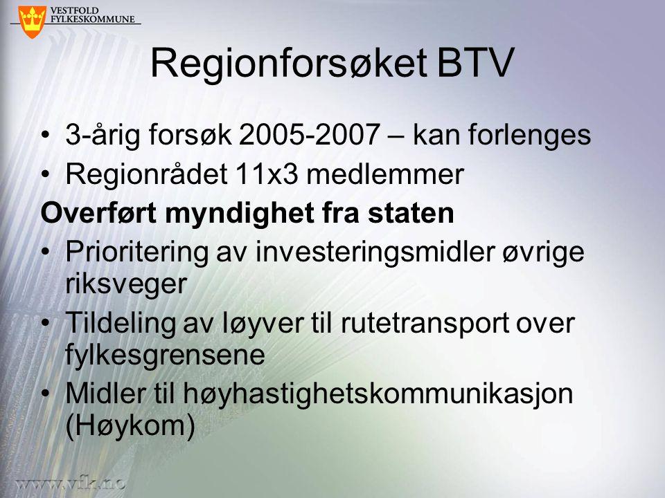 Regionforsøket BTV 3-årig forsøk 2005-2007 – kan forlenges Regionrådet 11x3 medlemmer Overført myndighet fra staten Prioritering av investeringsmidler øvrige riksveger Tildeling av løyver til rutetransport over fylkesgrensene Midler til høyhastighetskommunikasjon (Høykom)