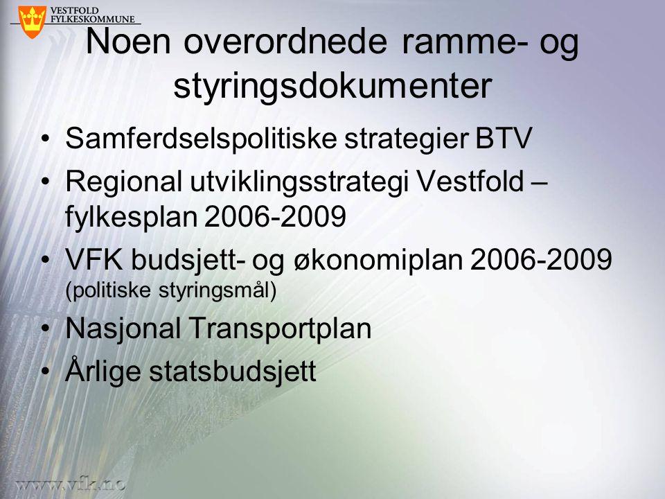 Noen overordnede ramme- og styringsdokumenter Samferdselspolitiske strategier BTV Regional utviklingsstrategi Vestfold – fylkesplan 2006-2009 VFK budsjett- og økonomiplan 2006-2009 (politiske styringsmål) Nasjonal Transportplan Årlige statsbudsjett