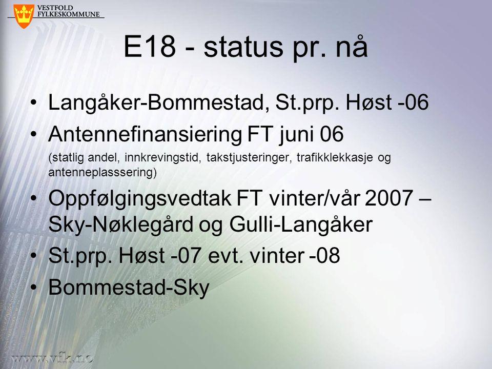E18 - status pr.nå Langåker-Bommestad, St.prp.