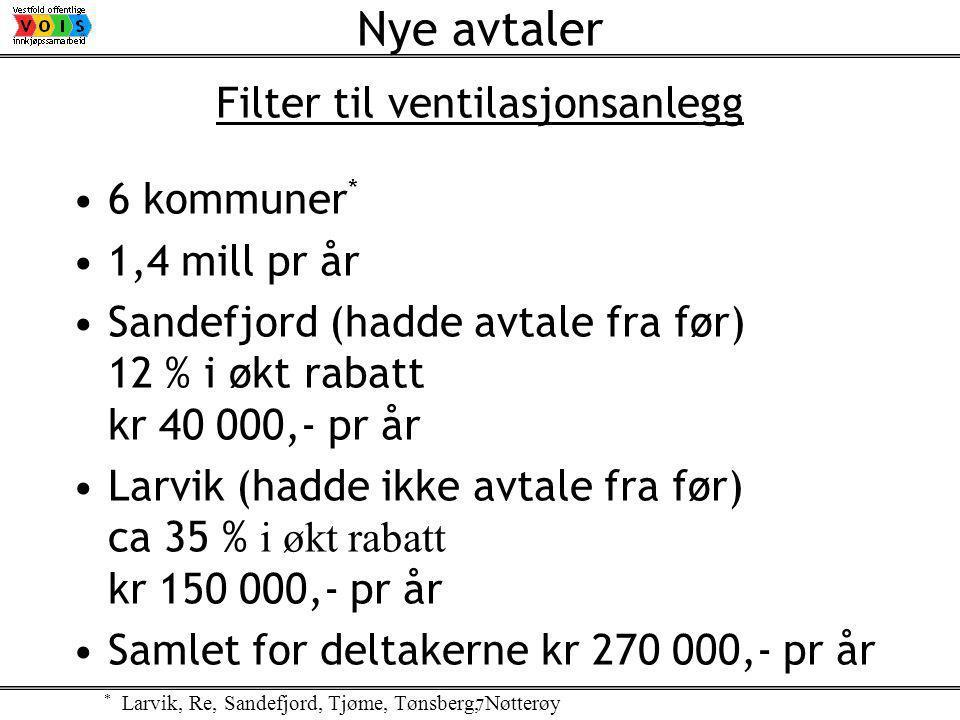 7 Filter til ventilasjonsanlegg 6 kommuner * 1,4 mill pr år Sandefjord (hadde avtale fra før) 12 % i økt rabatt kr 40 000,- pr år Larvik (hadde ikke avtale fra før) ca 35 % i økt rabatt kr 150 000,- pr år Samlet for deltakerne kr 270 000,- pr år Nye avtaler * Larvik, Re, Sandefjord, Tjøme, Tønsberg, Nøtterøy