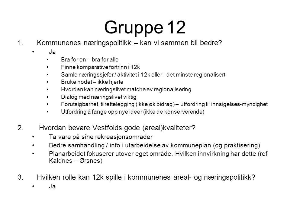 Gruppe 12 1.Kommunenes næringspolitikk – kan vi sammen bli bedre.