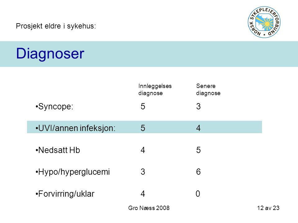 Prosjekt eldre i sykehus: 12 av 23 Gro Næss 2008 Diagnoser Innleggelses diagnose Senere diagnose Syncope:53 UVI/annen infeksjon: 54 Nedsatt Hb45 Hypo/