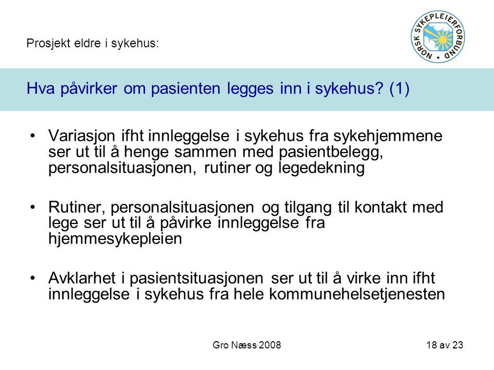 Prosjekt eldre i sykehus: 18 av 23 Gro Næss 2008 Hva påvirker om pasienten legges inn i sykehus? (1) Variasjon ifht innleggelse i sykehus fra sykehjem