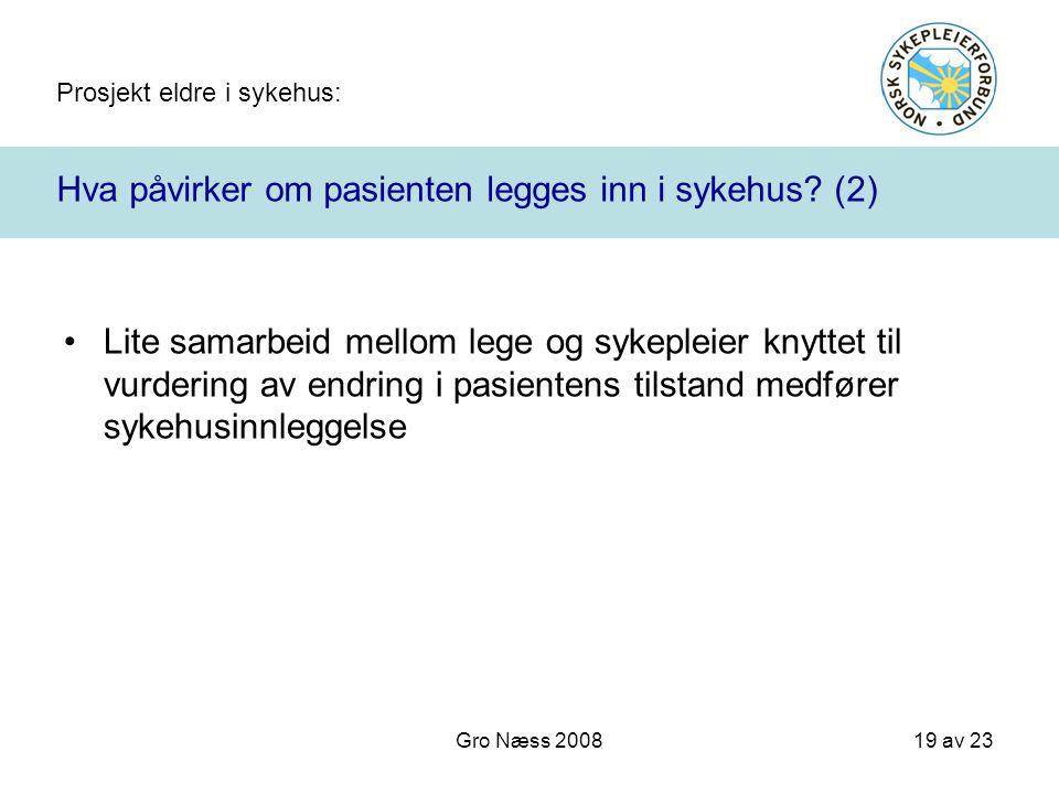 Prosjekt eldre i sykehus: 19 av 23 Gro Næss 2008 Hva påvirker om pasienten legges inn i sykehus? (2) Lite samarbeid mellom lege og sykepleier knyttet