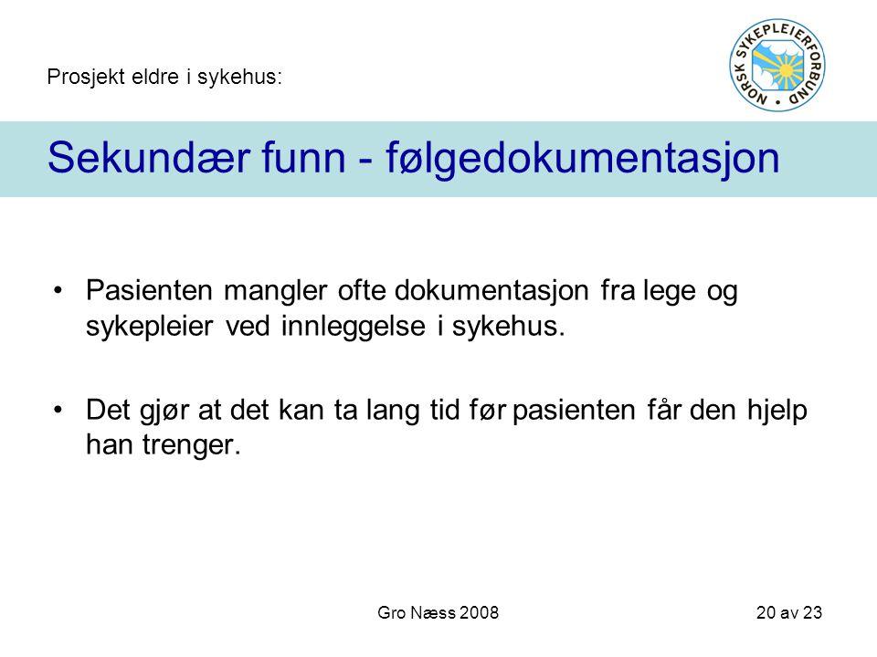 Prosjekt eldre i sykehus: 20 av 23 Gro Næss 2008 Sekundær funn - følgedokumentasjon Pasienten mangler ofte dokumentasjon fra lege og sykepleier ved in
