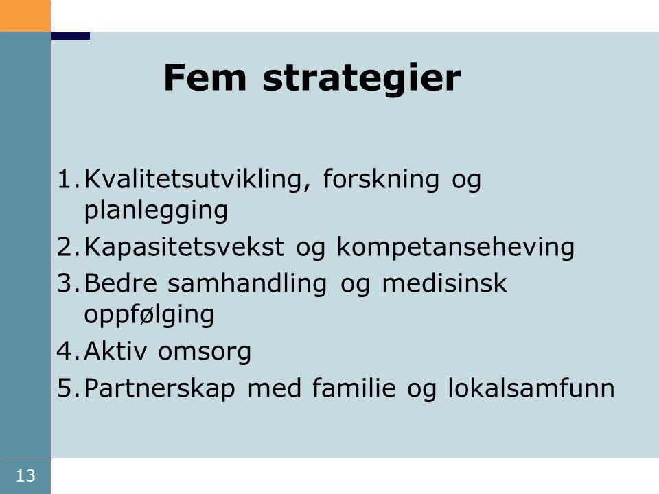 13 Fem strategier 1.Kvalitetsutvikling, forskning og planlegging 2.Kapasitetsvekst og kompetanseheving 3.Bedre samhandling og medisinsk oppfølging 4.A