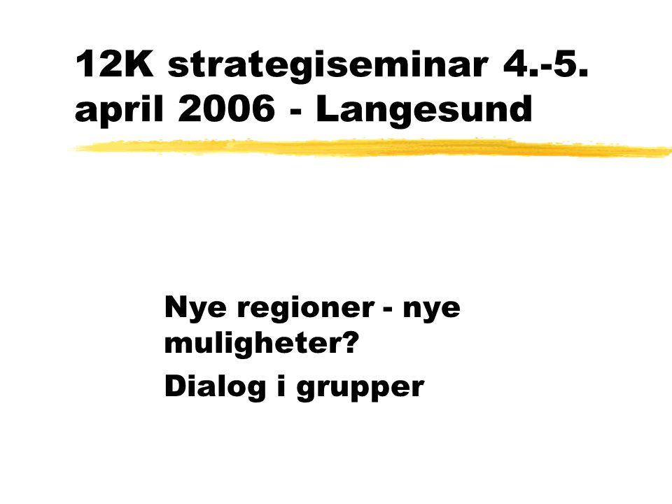 12K strategiseminar 4.-5. april 2006 - Langesund Nye regioner - nye muligheter Dialog i grupper