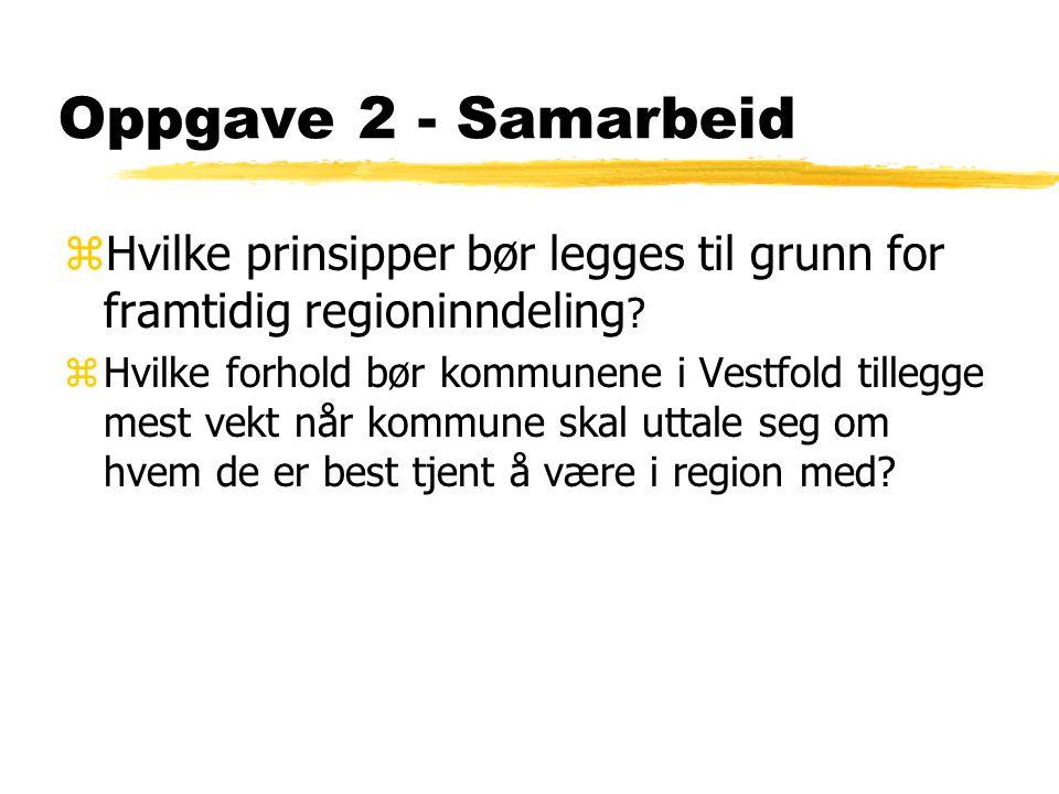 Oppgave 2 - Samarbeid zHvilke prinsipper bør legges til grunn for framtidig regioninndeling .