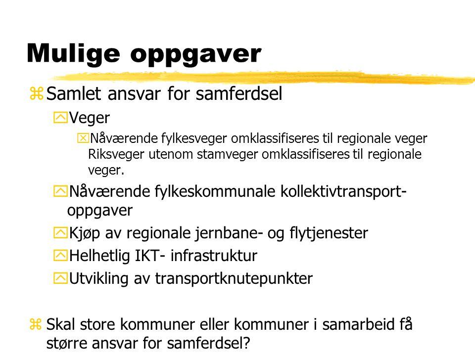 Mulige oppgaver zSamlet ansvar for samferdsel yVeger xNåværende fylkesveger omklassifiseres til regionale veger Riksveger utenom stamveger omklassifiseres til regionale veger.