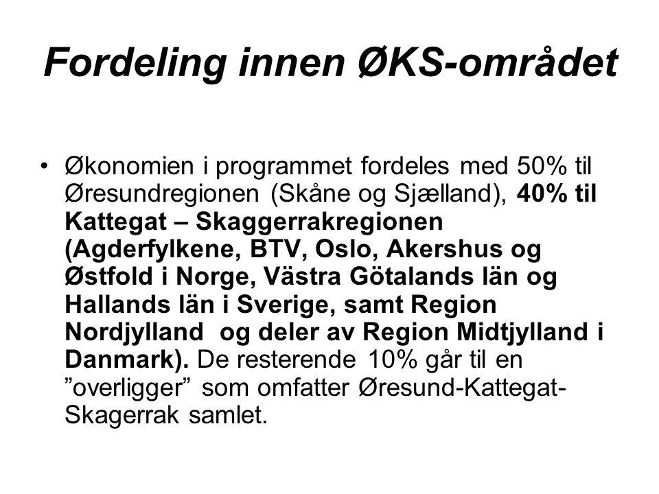 Fordeling innen ØKS-området Økonomien i programmet fordeles med 50% til Øresundregionen (Skåne og Sjælland), 40% til Kattegat – Skaggerrakregionen (Agderfylkene, BTV, Oslo, Akershus og Østfold i Norge, Västra Götalands län og Hallands län i Sverige, samt Region Nordjylland og deler av Region Midtjylland i Danmark).