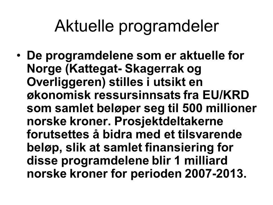 Aktuelle programdeler De programdelene som er aktuelle for Norge (Kattegat- Skagerrak og Overliggeren) stilles i utsikt en økonomisk ressursinnsats fra EU/KRD som samlet beløper seg til 500 millioner norske kroner.