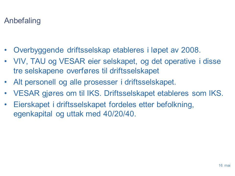 16. mai Anbefaling Overbyggende driftsselskap etableres i løpet av 2008.