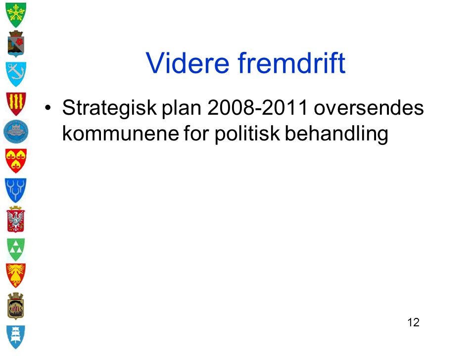 Videre fremdrift Strategisk plan 2008-2011 oversendes kommunene for politisk behandling 12