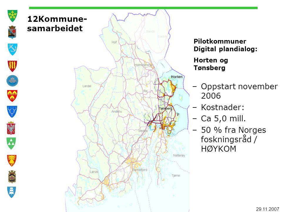 29.11.2007 Horten 12Kommune- samarbeidet Pilotkommuner Digital plandialog: Horten og Tønsberg –Oppstart november 2006 –Kostnader: –Ca 5,0 mill. –50 %