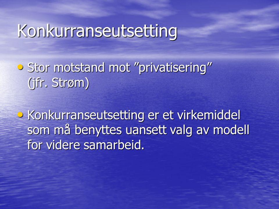 Konkurranseutsetting Stor motstand mot privatisering (jfr.