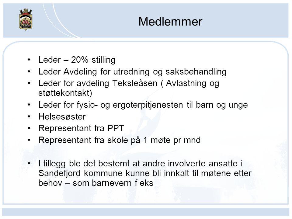 Medlemmer Leder – 20% stilling Leder Avdeling for utredning og saksbehandling Leder for avdeling Teksleåsen ( Avlastning og støttekontakt) Leder for f