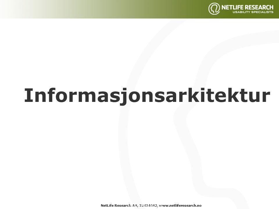 NetLife Research AS, 22424642, www.netliferesearch.noNetLife Research AS, Informasjonsarkitektur