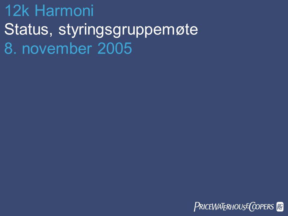12k Harmoni Status, styringsgruppemøte 8. november 2005 
