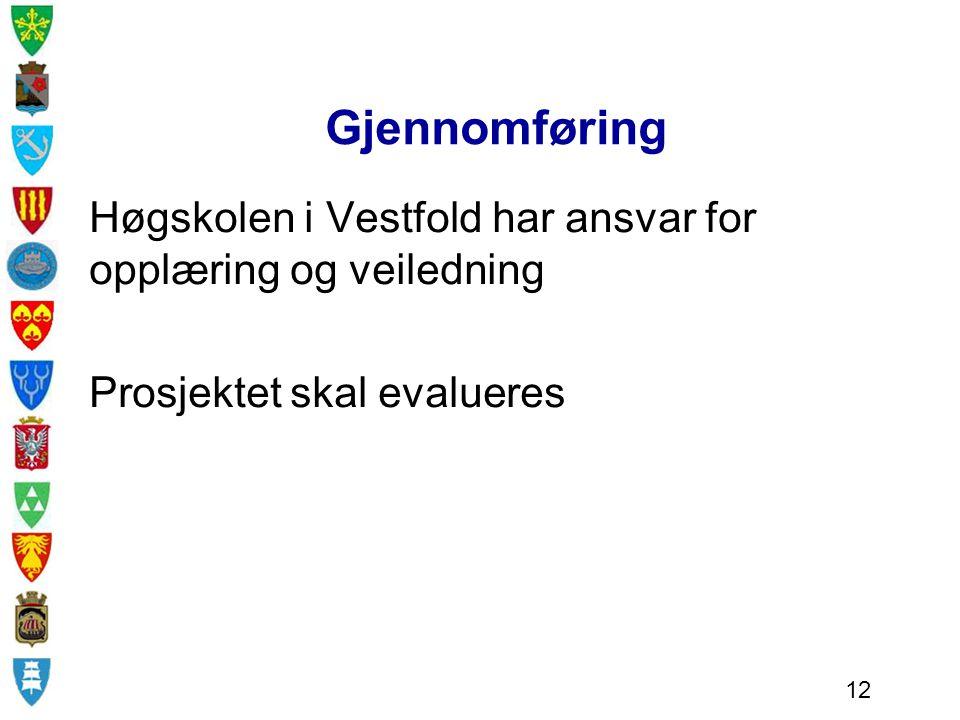 Gjennomføring Høgskolen i Vestfold har ansvar for opplæring og veiledning Prosjektet skal evalueres 12