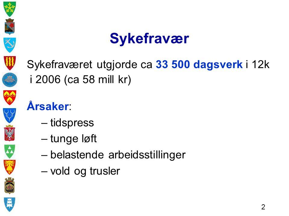 Sykefravær Sykefraværet utgjorde ca 33 500 dagsverk i 12k i 2006 (ca 58 mill kr) Årsaker: –tidspress –tunge løft –belastende arbeidsstillinger –vold og trusler 2
