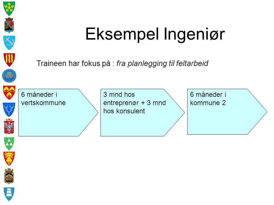 Eksempel Ingeniør 6 måneder i vertskommune 6 måneder i kommune 2 3 mnd hos entreprenør + 3 mnd hos konsulent Traineen har fokus på : fra planlegging t
