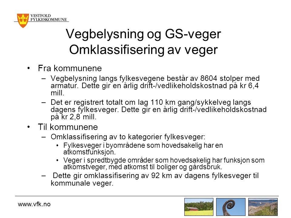 www.vfk.no Vegbelysning og GS-veger Omklassifisering av veger Fra kommunene –Vegbelysning langs fylkesvegene består av 8604 stolper med armatur. Dette