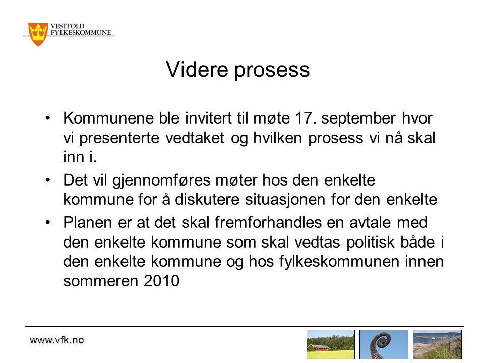 www.vfk.no Videre prosess Kommunene ble invitert til møte 17. september hvor vi presenterte vedtaket og hvilken prosess vi nå skal inn i. Det vil gjen