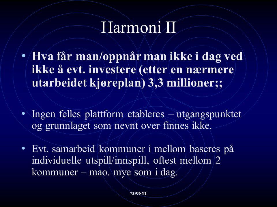 209511 Harmoni II Hva får man/oppnår man ikke i dag ved ikke å evt. investere (etter en nærmere utarbeidet kjøreplan) 3,3 millioner;; Ingen felles pla