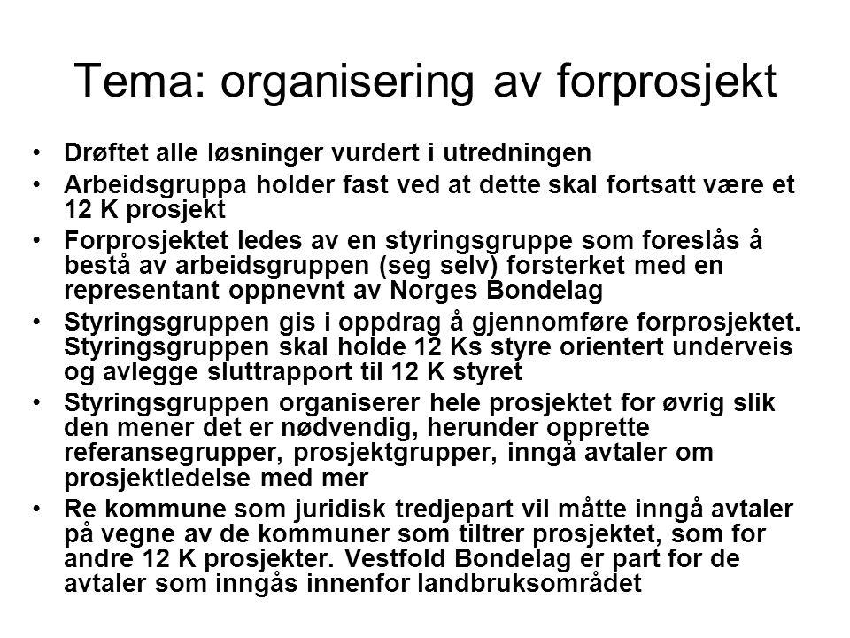 Tema: organisering av forprosjekt Drøftet alle løsninger vurdert i utredningen Arbeidsgruppa holder fast ved at dette skal fortsatt være et 12 K prosjekt Forprosjektet ledes av en styringsgruppe som foreslås å bestå av arbeidsgruppen (seg selv) forsterket med en representant oppnevnt av Norges Bondelag Styringsgruppen gis i oppdrag å gjennomføre forprosjektet.