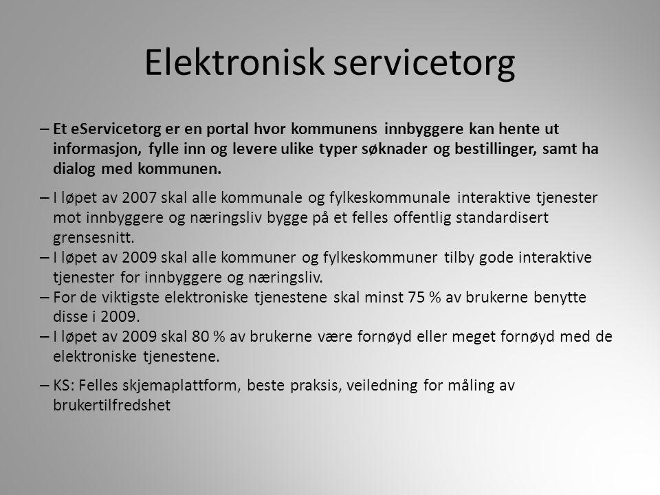 Elektronisk servicetorg – Et eServicetorg er en portal hvor kommunens innbyggere kan hente ut informasjon, fylle inn og levere ulike typer søknader og