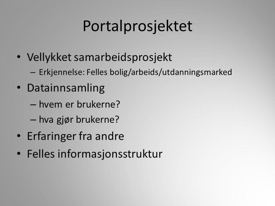 Portalprosjektet Vellykket samarbeidsprosjekt – Erkjennelse: Felles bolig/arbeids/utdanningsmarked Datainnsamling – hvem er brukerne? – hva gjør bruke