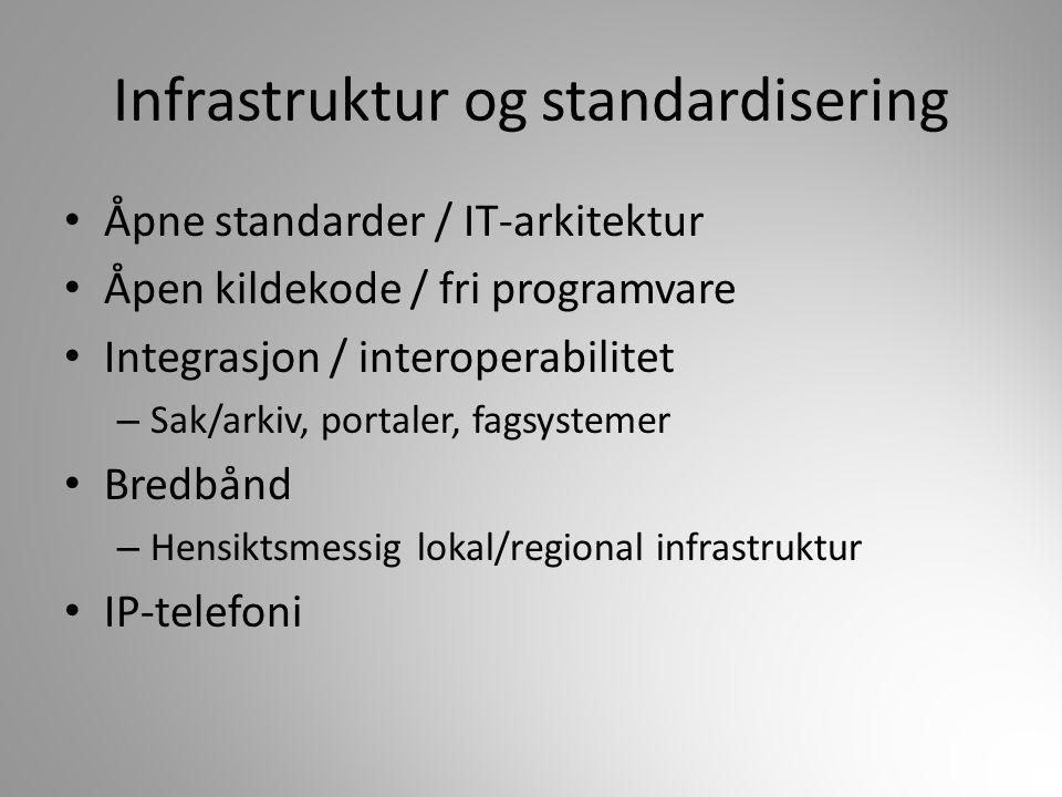 Åpne standarder / IT-arkitektur Åpen kildekode / fri programvare Integrasjon / interoperabilitet – Sak/arkiv, portaler, fagsystemer Bredbånd – Hensikt