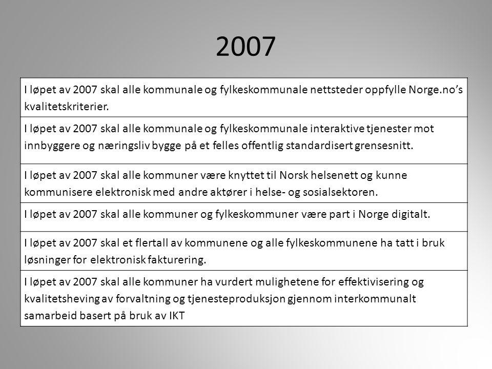 2007 I løpet av 2007 skal alle kommunale og fylkeskommunale nettsteder oppfylle Norge.no's kvalitetskriterier. I løpet av 2007 skal alle kommunale og