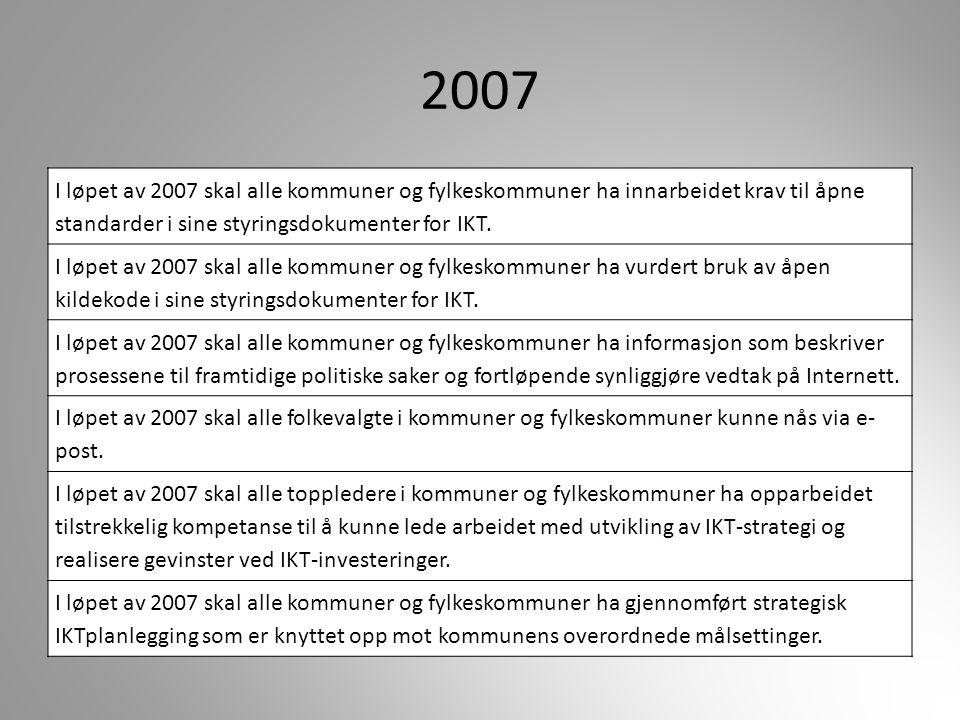 2007 I løpet av 2007 skal alle kommuner og fylkeskommuner ha innarbeidet krav til åpne standarder i sine styringsdokumenter for IKT. I løpet av 2007 s