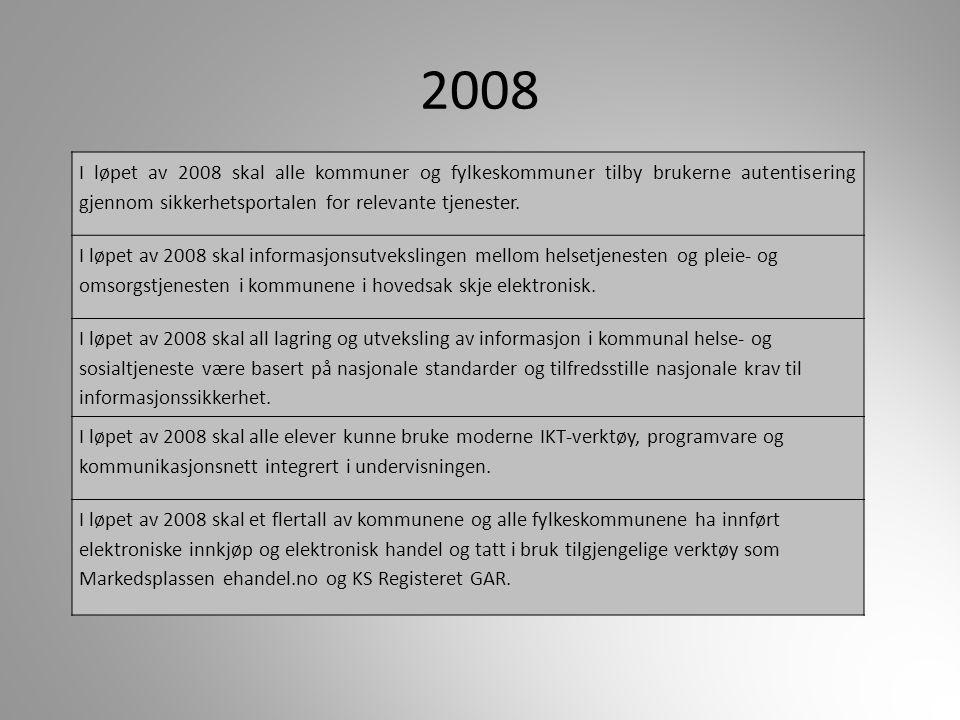 2008 I løpet av 2008 skal alle kommuner og fylkeskommuner tilby brukerne autentisering gjennom sikkerhetsportalen for relevante tjenester. I løpet av
